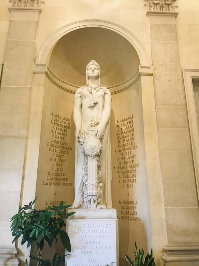 Memorial to the Deputies killed during WWII in the Salle de 4 colonnes