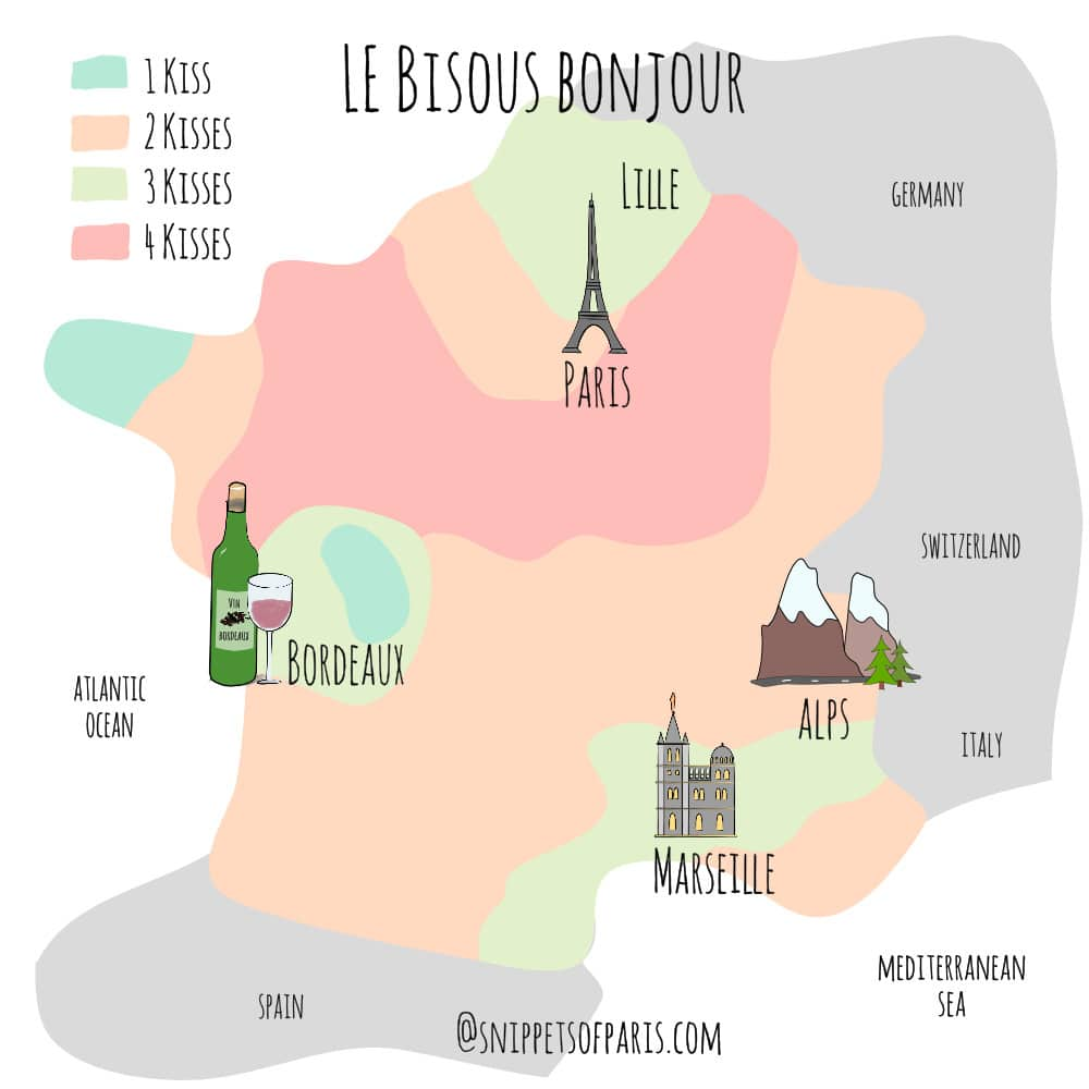 Illustration of how many French bises (cheek kisses) to do when saying bonjour in different parts of France