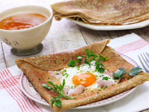savory crepe with egg, ham and cheese