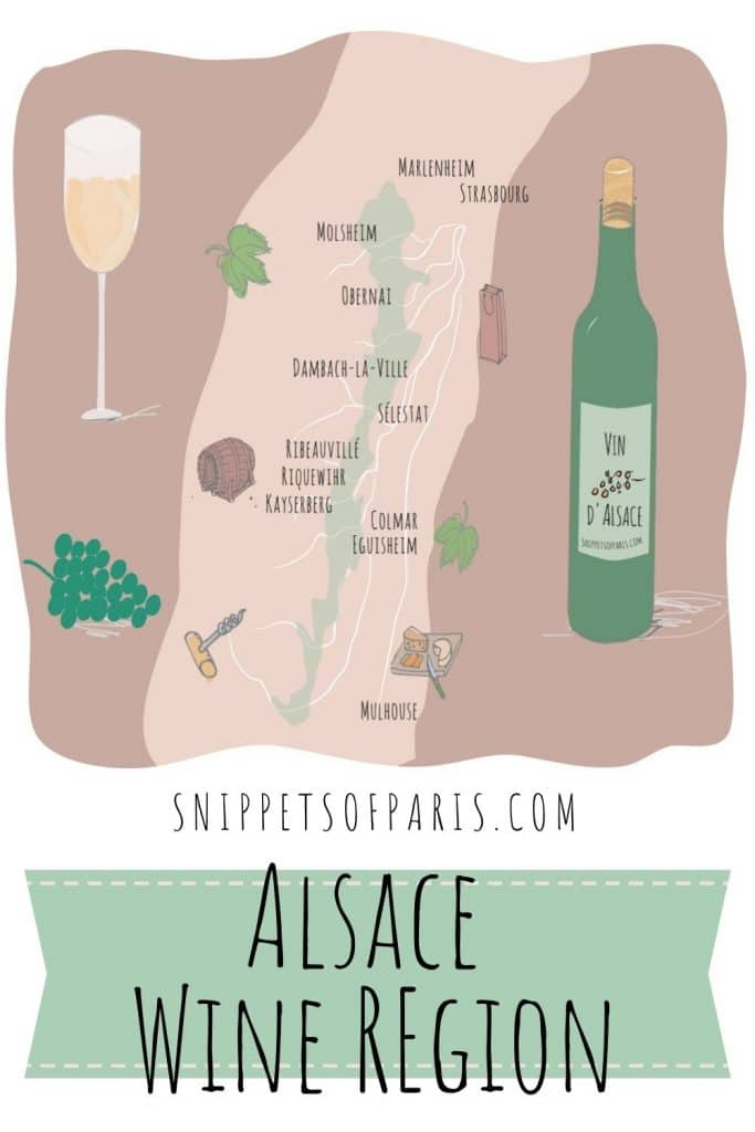 Alsace wines region map - pin for pinterest