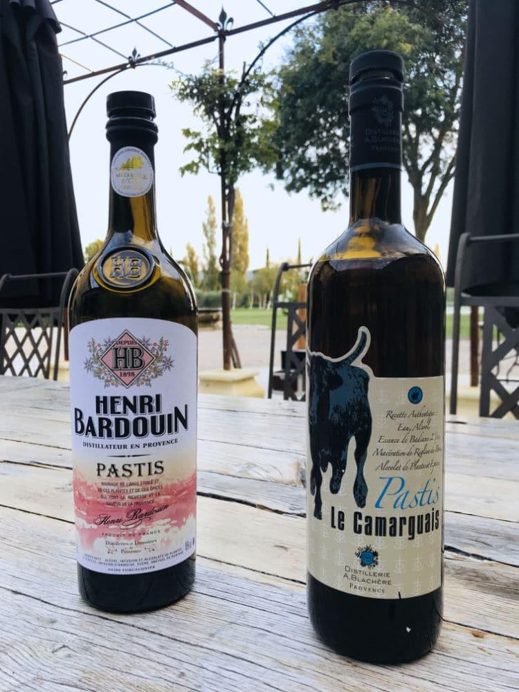 2 bottles of pastis: henri bardouin and pastis le carmguais