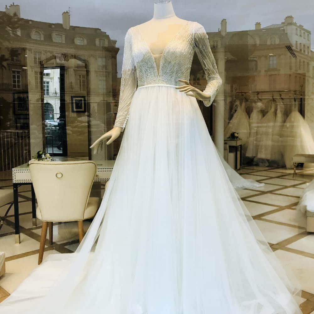 bridal gown in a shop front