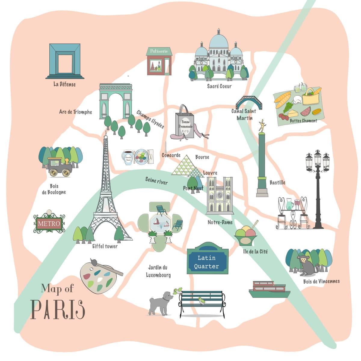 Map of Paris france