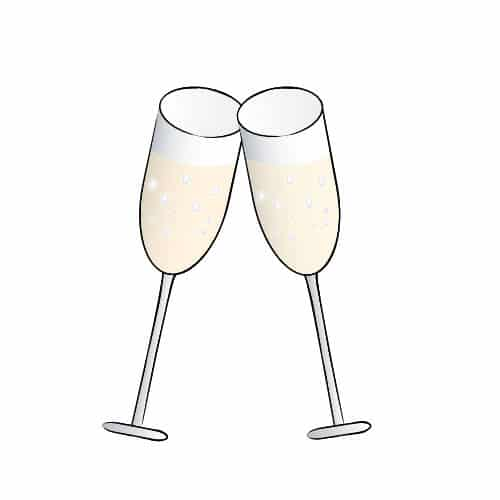 2 champagne glasses clinking