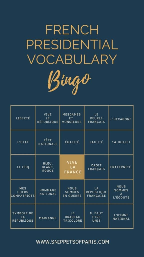 vive la France meaning - French Presidential Vocabulary Bingo card