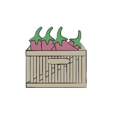 box of eggplants in season