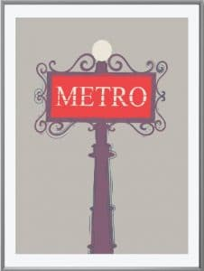 Paris France metro poster illustration