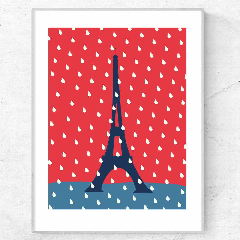 Eiffel Tower under the rain art poster