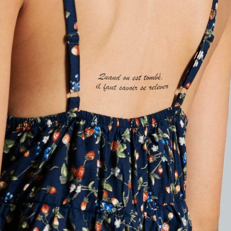 Quand on est tombé, il faut savoir se relever - french tattoo on back