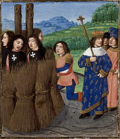 Philippe le Bel burning the Knights Templar on the stake