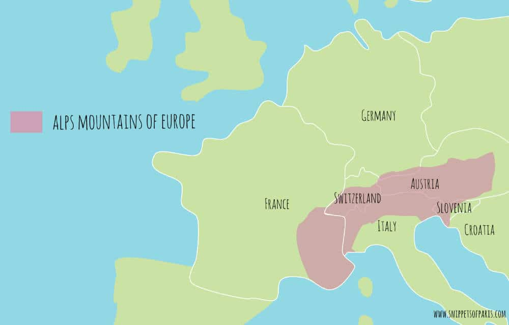 Map of the Alps mountains of Europe