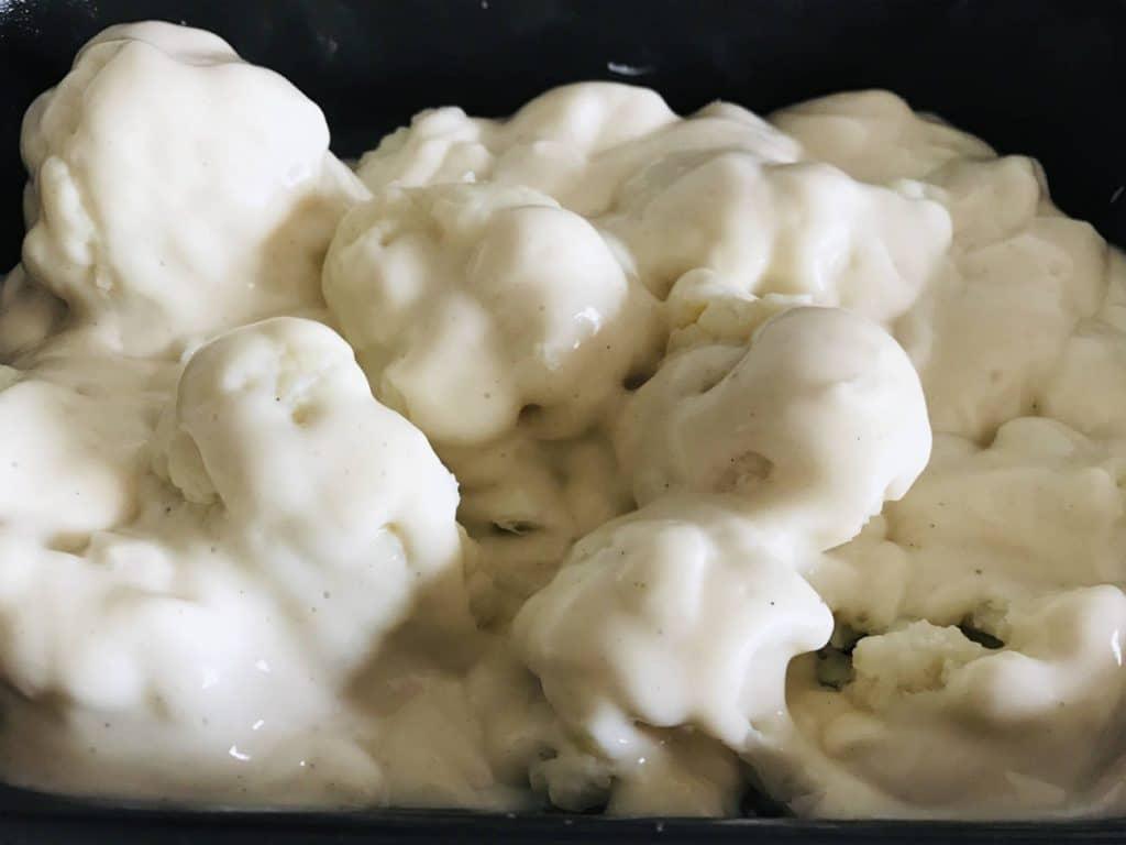 béchamel sauce on cauliflower