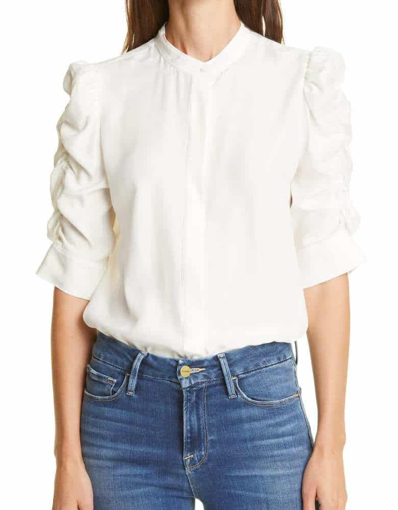 white shirt with funky sleeves