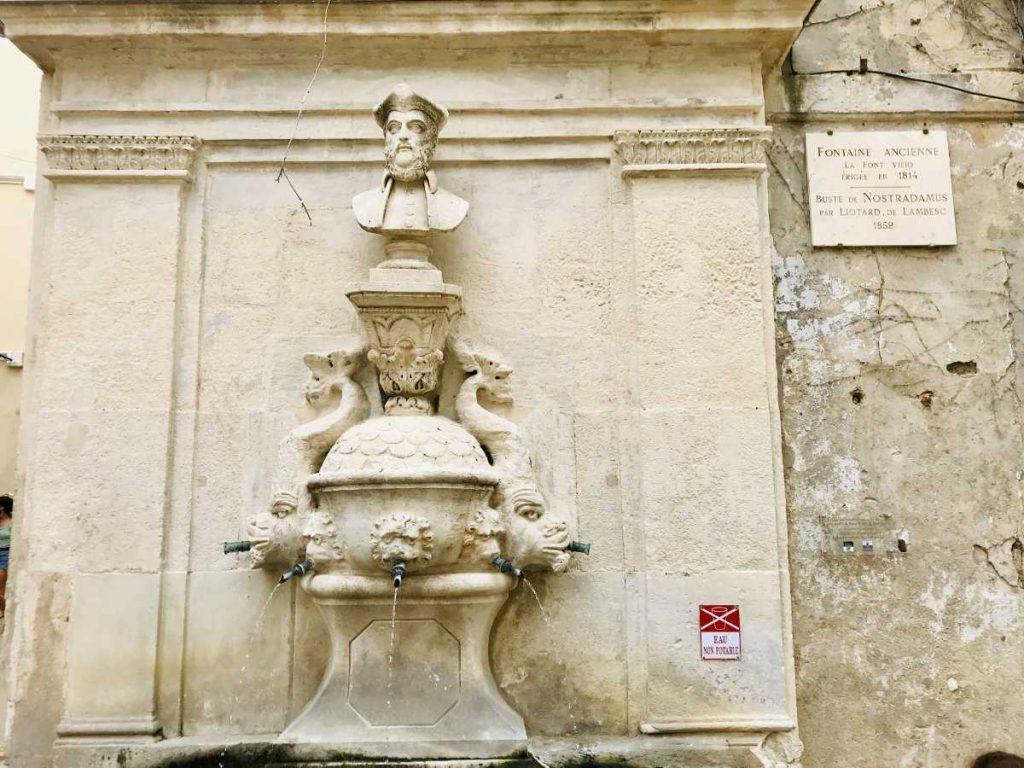 Fountain dedicated to Nostradamus in Saint Rémy de Provence
