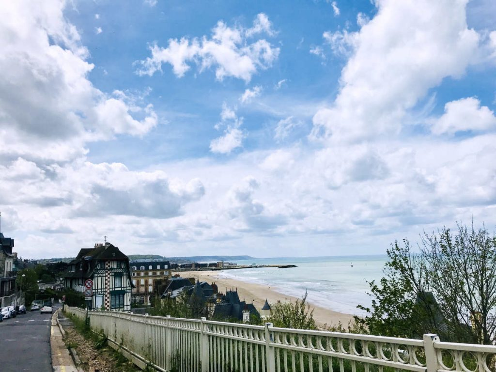 View of the beach and pier from the Trouville sur mer side.