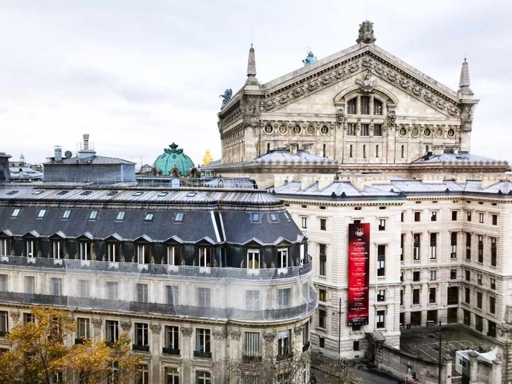 Opera Garnier in Paris from above, back view