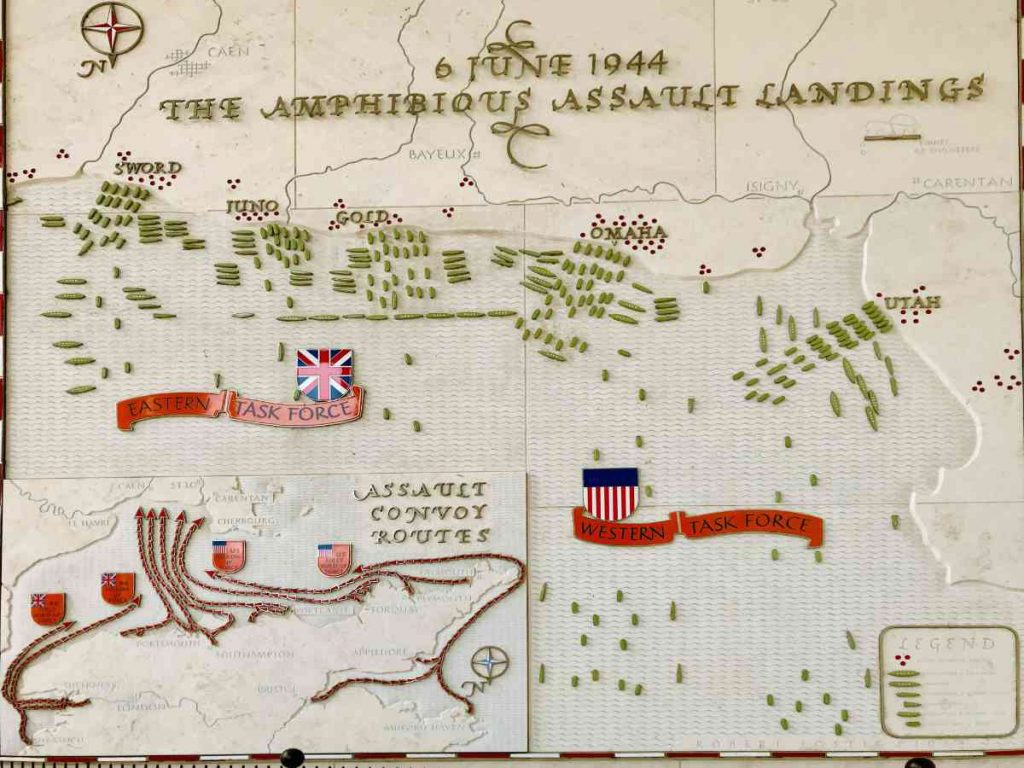 Map of D-day landings in proximity to Bayeux