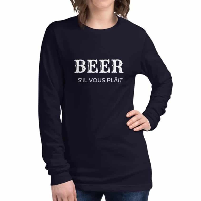 beer tshirt in navy