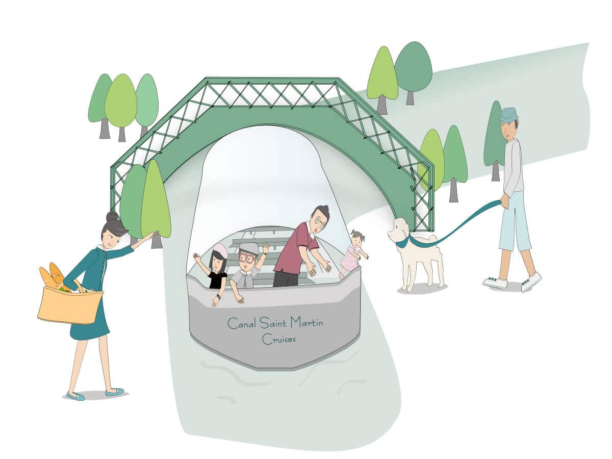 french children in a boat at canal saint martin in Paris - illustration