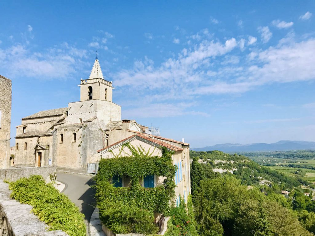 Venasque Church from a distance