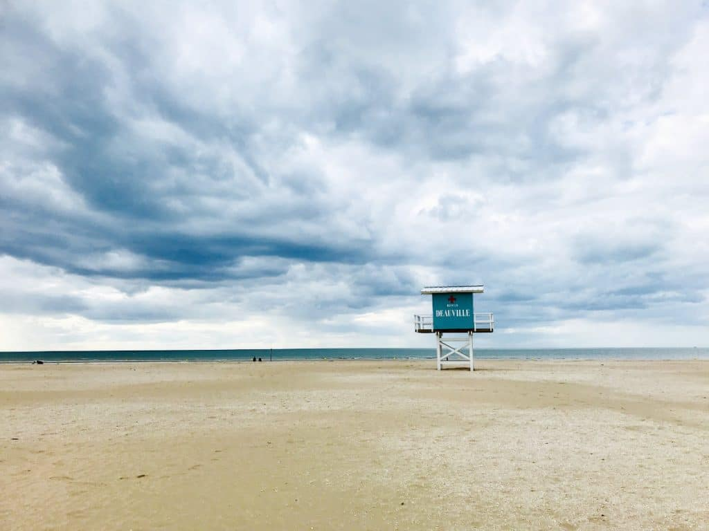 Deauville beach with lifeguard station in background