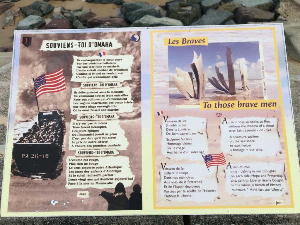 Poem placed on Omaha beach