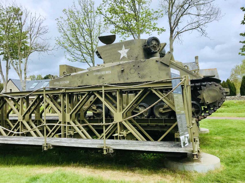 Tank with bullet holes at one of the American museums at Omaha beach