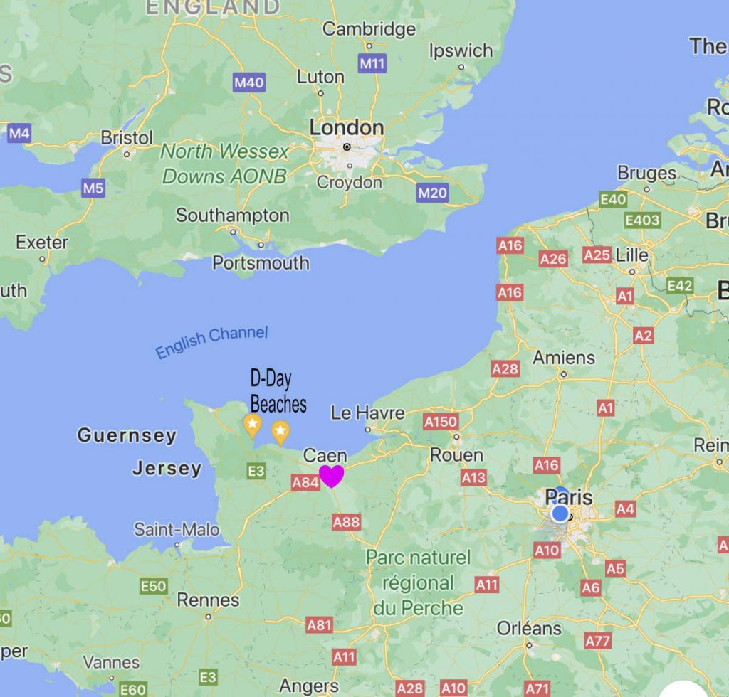 Map of Caen on the English Channel
