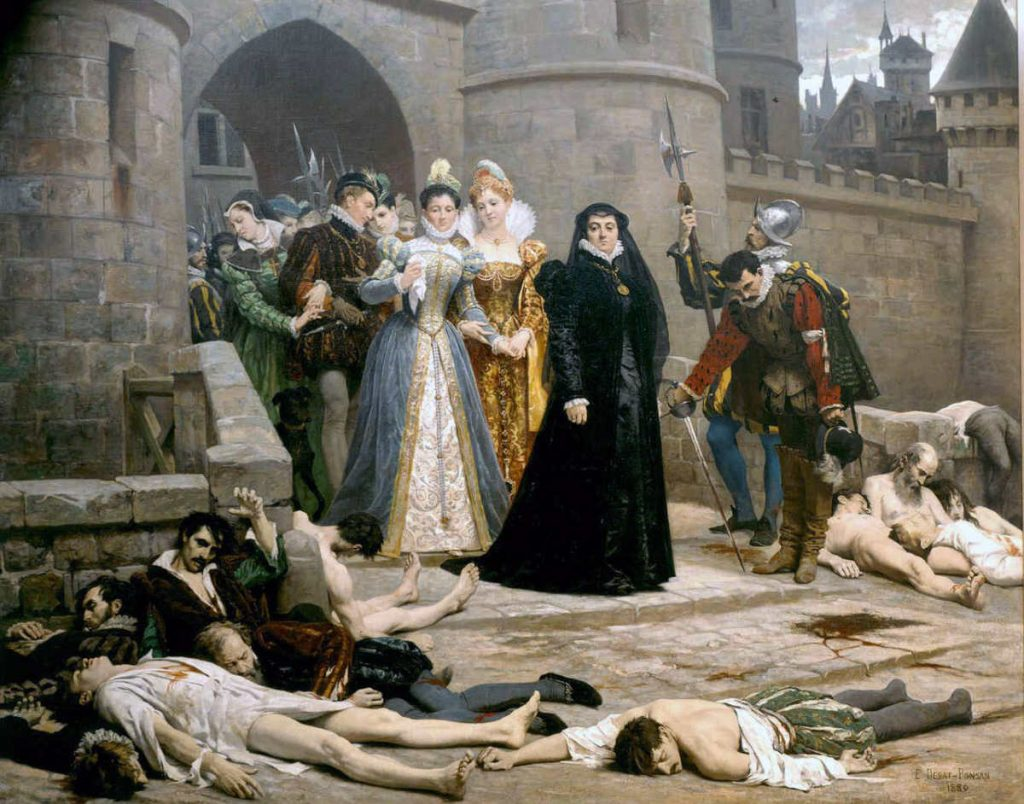 Catherine de Medici emerging from the Louvre Palace after the massacre of St. Bartholomew