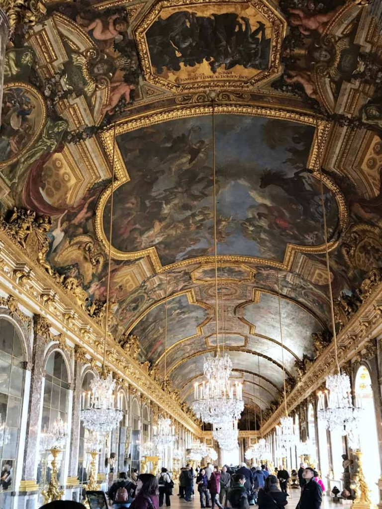Painted ceiling at the Château de Versailles by Charles Le Brun