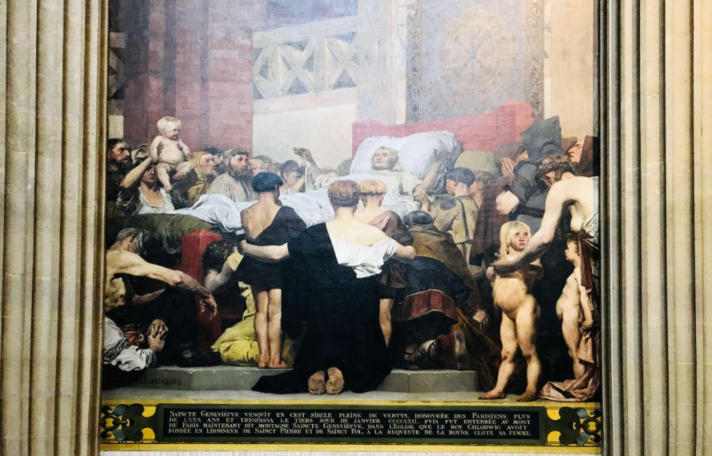 Painting of Sainte Genevieve on her deathbed in the Pantheon in Paris