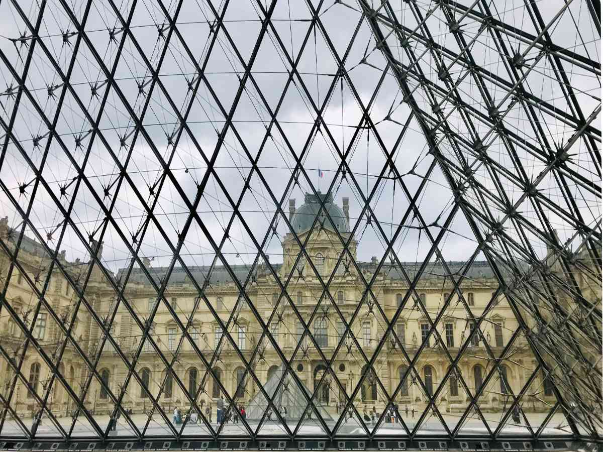 Louvre museum from inside the glass pyramid