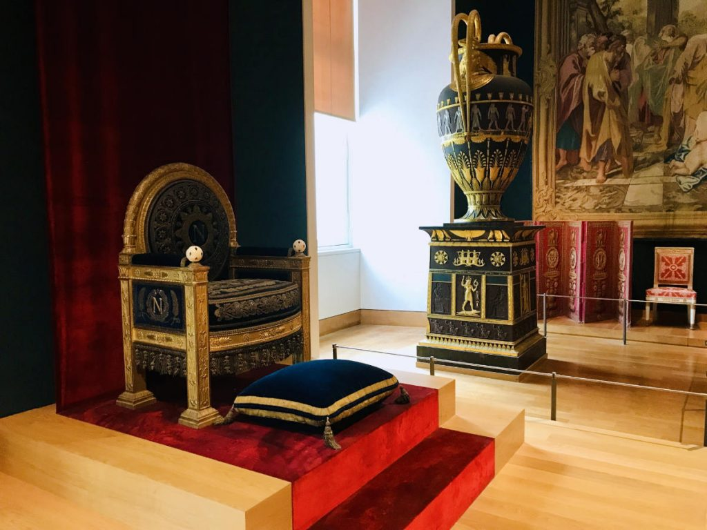 Throne of Napoleon Bonaparte which was formerly in the Tuileries Palace, and is now in the Louvre Museum