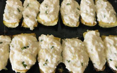 Stuffed Zucchini boats with cheese (French recipe)