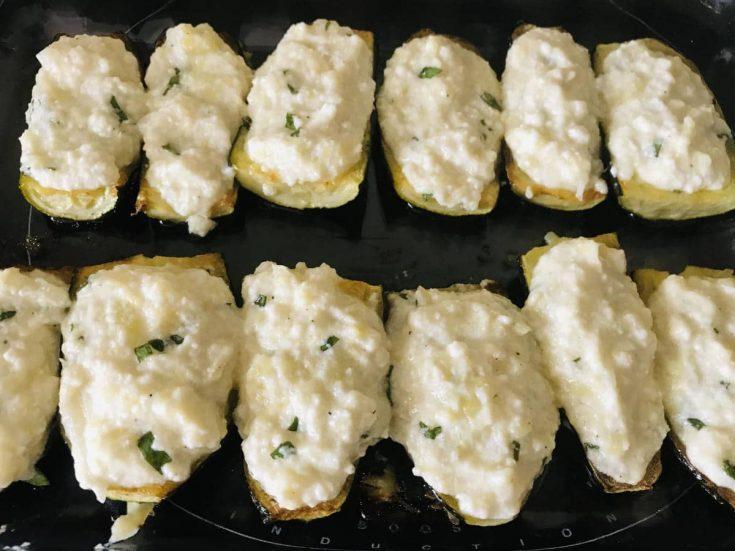 Stuffed Zucchini boats with cheese (French recipe) 1
