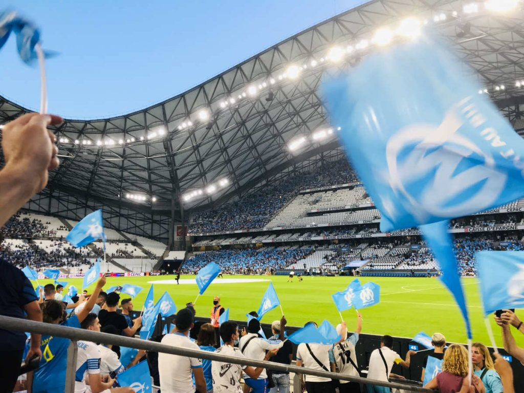 Olympique de Marseille playing in the Velodrome