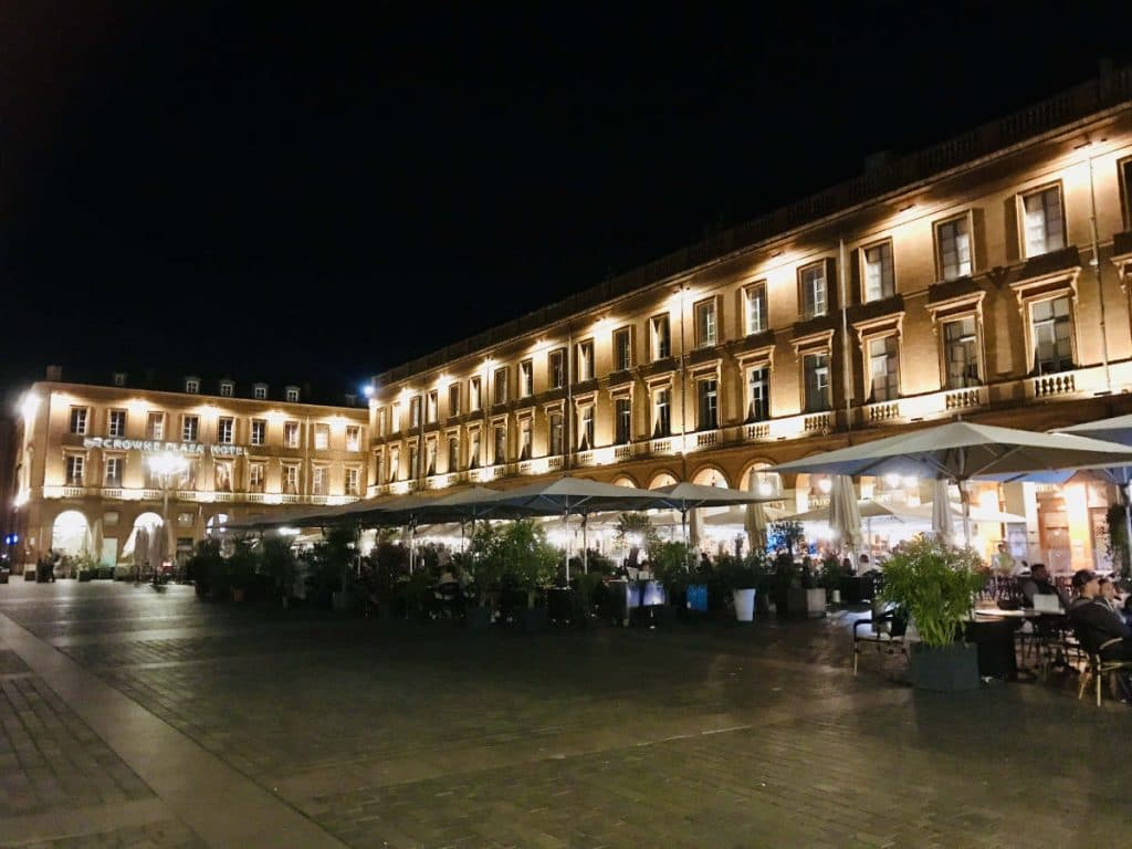 Square in Toulouse at night