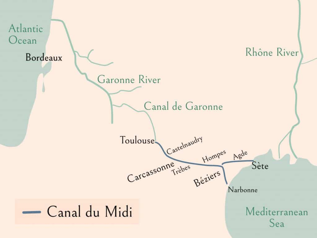 Map of Canal du Midi showing the Mediterannean and Atlantic Ocean, and several towns along the Canal (Toulouse, Castelnaudry, Carcassone, Trèbes, Hompes, Béziers, Agde, Sète, and Narbonne)