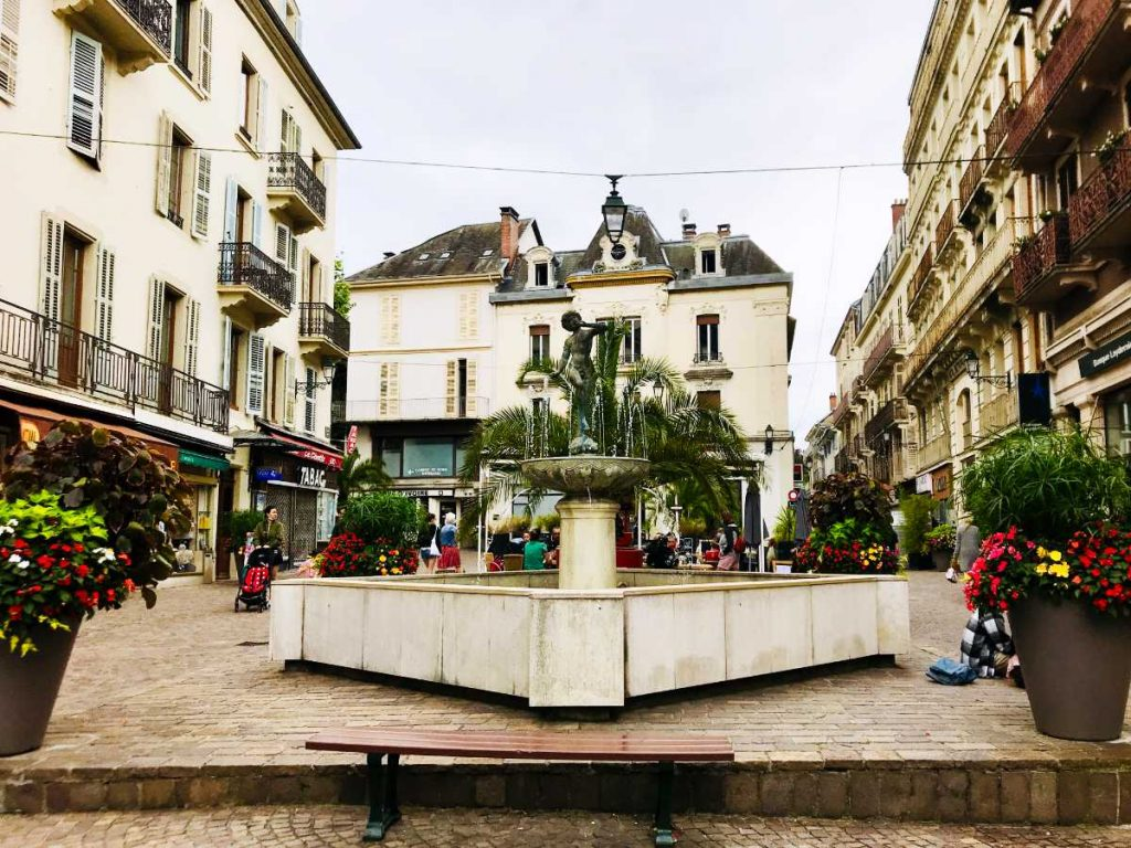 Fountain in a square in Aix-les-Bains