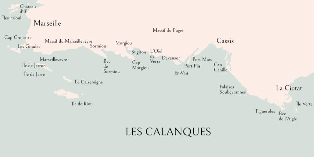 Map of Les Calanques from Marseille to Cassis and La Ciotat.