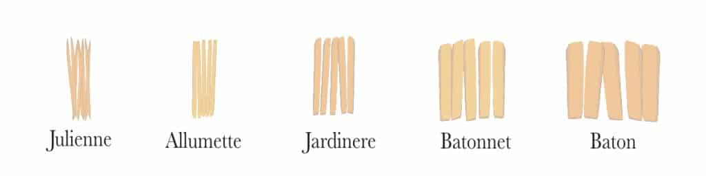 Long knife cuts. From small to large: julienne, allumette, jardinere, batonnet and baton