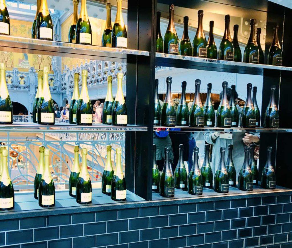 champagne bottles on display