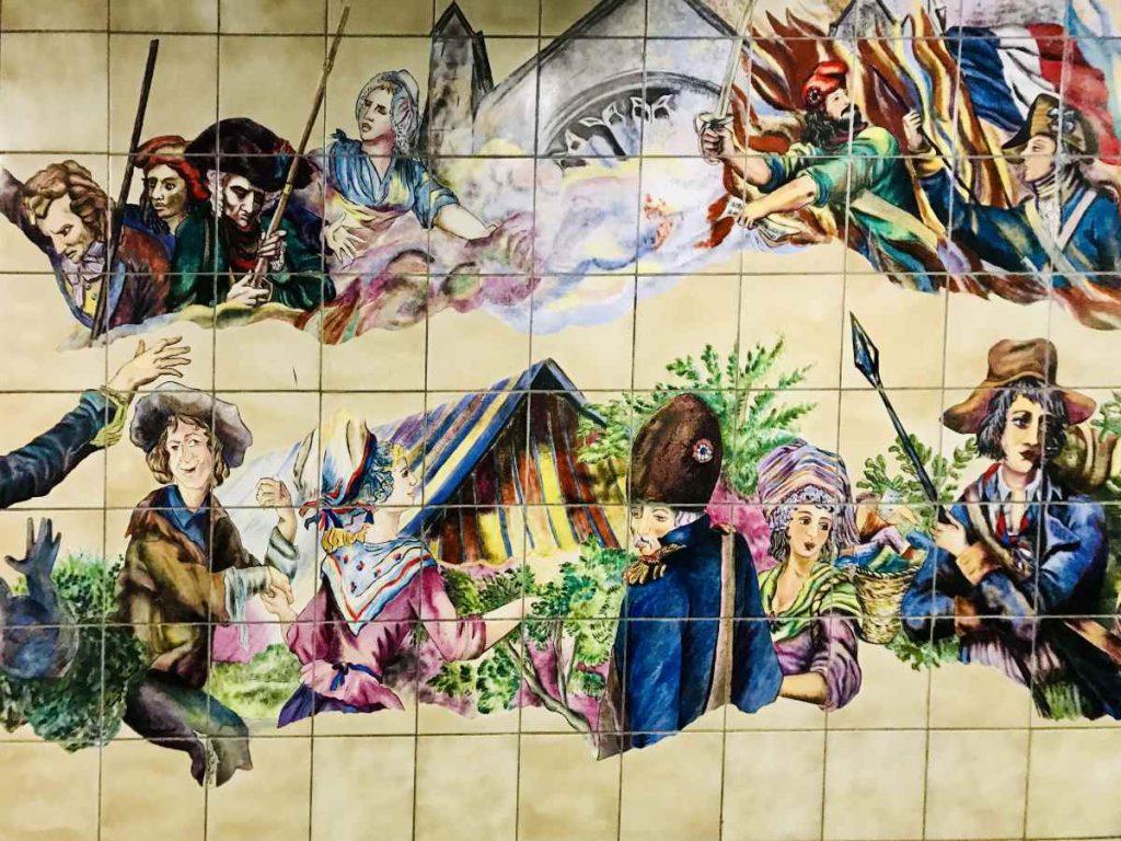 Revolution painting on Metro line 1 at Bastille