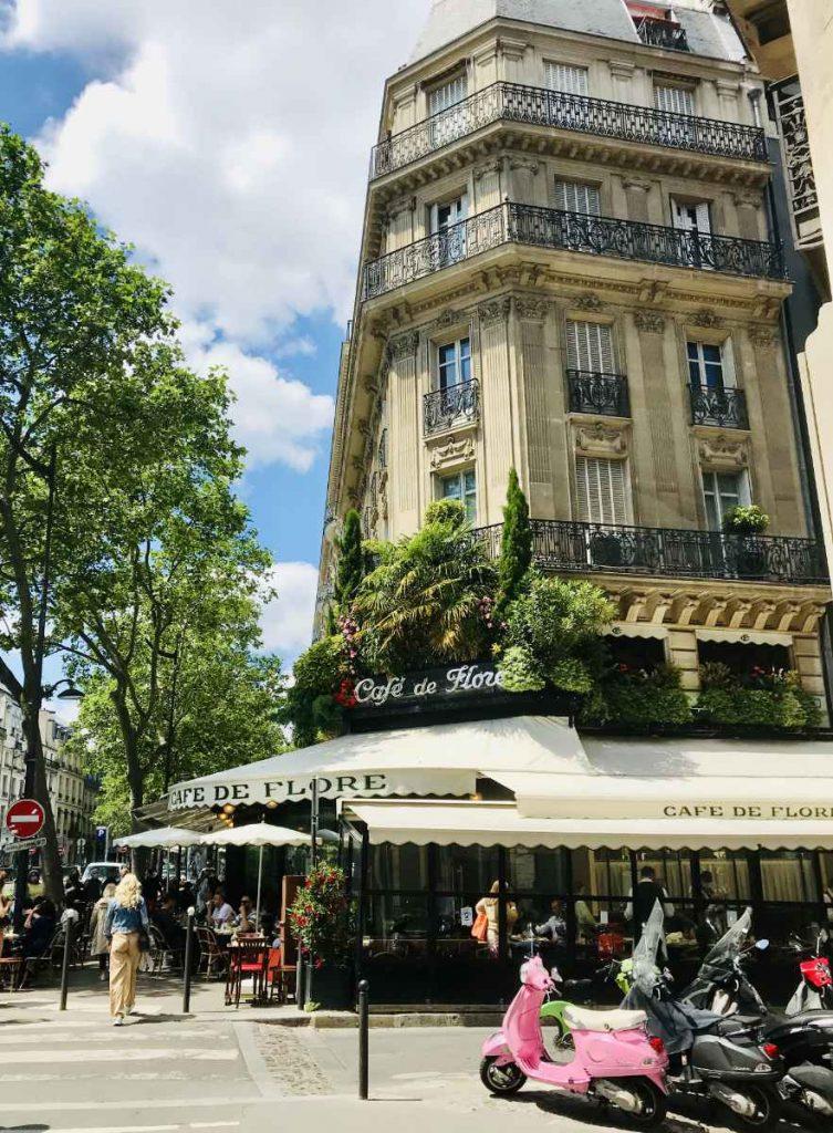 Hausmannian building with Cafe Flore in Paris